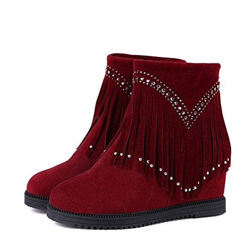 Damen Stiefeln Plateau Keilabsatz Quaste Wildleder Warme Winterschuhe Rot