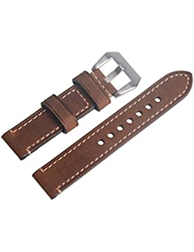 Brown-Weinlese-echtes Leder-Wiedereinbau-20mm-Uhr-Bügel-Band-silbrige Wölbung