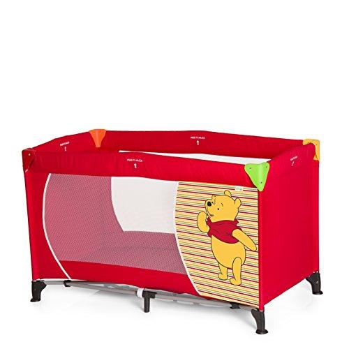 Hauck Kinderreisebett Dream N Play Disney / inklusive Matratze und Transporttasche / 120 x 60cm / ab Geburt / tragbar und faltbar, Pooh Springs Bright Red (Rot)