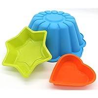Conjunto 3 Moldes de silicona para reposteria. Molde flan tarta bizcocho magdalenas Cupcakes Brownies Muffins