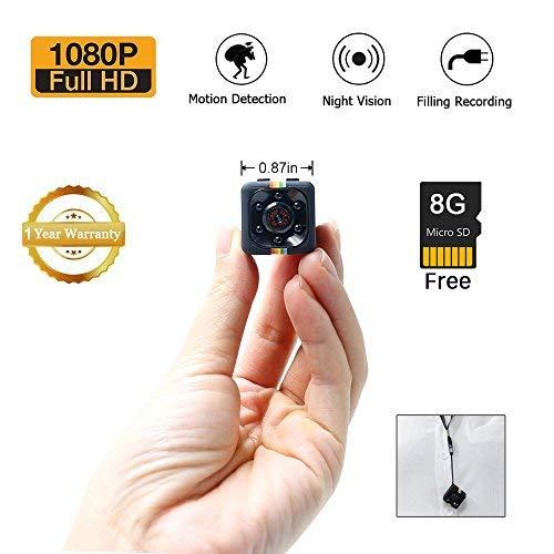 1080P Mini Cam Spy Hidden Camera LXMIMI HD Nanny Web Cam con Visione Notturna e Rilevamento di Movimento per la Sorveglianza di Sicurezza Domestica con la Carta 8G