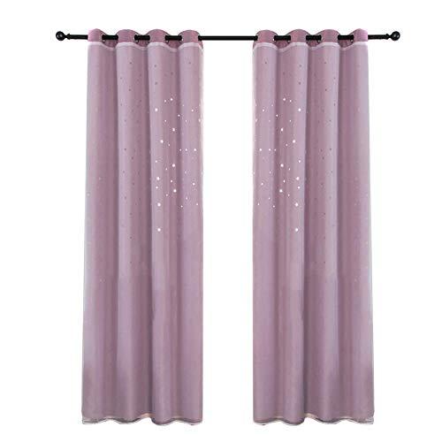 yeehao 2-teilig Doppel Schichten Vorhänge Blackout Vorhänge mit Hohl Star für Kinderzimmer Wohndeko - Rosa (Blackout Vorhänge Rosa Kinderzimmer)
