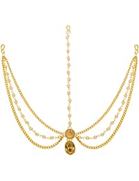 The Luxor Traditional Gold Plated Pearls Mang Tikka Mathapatti for Women (MGT6013)