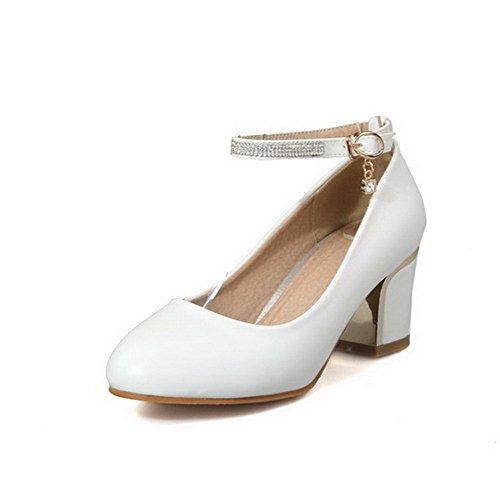 84cf27c381a988 Rund Niedriger Schuhe Schnalle Weiß Pu Absatz Eingelegt Zehe Leder  AllhqFashion Damen Pumps IHqfTI