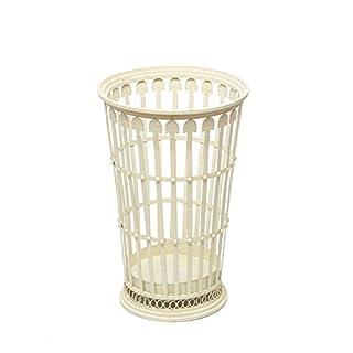 aubaho Decorative umbrella stand - antique style shabby chic basket - wrought iron - white