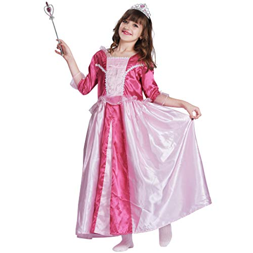 EraSpooky Mädchen Deluxe Prinzessin Kostüm Ziemlich Lange Kleid(Rosa, Medium) (Barbie Fee Kostüm Mädchen)
