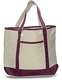 "22"" Spacious Durable Large Canvas Tote Bag W/Front Pocket Pool Beach Shopping Travel Tote Bag Eco-Friendly (1,..."