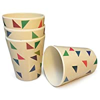 Bamboo Tumbler Set, 4-Cups. Reusable Bamboo Cups Kids Love. Eco-Friendly, BPA-Free Plastic Alternative Drinks Tumbler. Bamboo Cup Set for Indoor, Outdoor Use at Picnics, Parties, Camping.