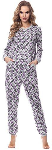 Merry Style Damen Jumpsuit Schlafanzug MS10-175 (Melange (HerzenViolett), S)