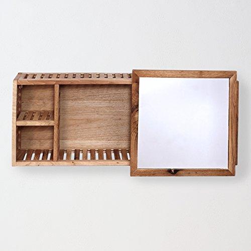 #Badezimmer-Wandregal mit Spiegel – Walnussholz – braun – 80 x 17 x 30 cm – Nature Spa – BUTLERS#