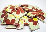 Mosaikbruch - Gemustert Cremeweiss-Braun-Gelb - 900 Gramm aus handgefertigten Mexiko Fliesen