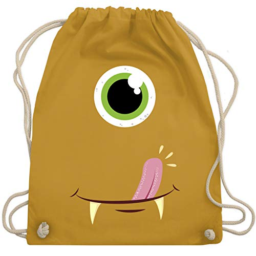 Karneval & Fasching - Monster Gesicht Kostüm - Unisize - Senfgelb - WM110 - Turnbeutel & Gym Bag