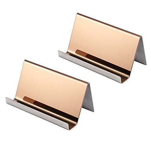 2 Stück Visitenkartenhalter/Visitenkartenständer im rostfreier Stahl (roségold)