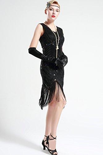 BABEYOND Damen Flapper Kleider voller Pailletten Retro 1920er Jahre Stil V-Ausschnitt Great Gatsby Motto Party Damen Kostüm Kleid glamourös Schwarz