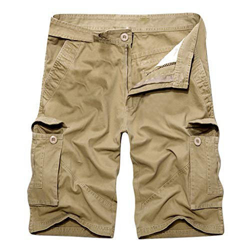 EUZeo Herren Sommer Retro Reiner Baumwolle Multi-Pocket Einfarbig Shorts Mode Hose Casual Boardshorts Outdoorhose Freizeithose -