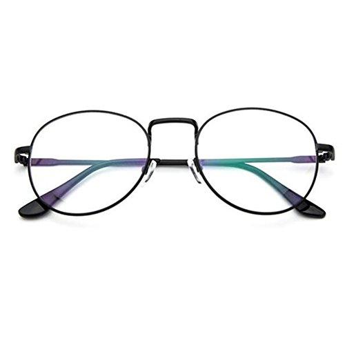 Zhuhaixmy Männer Frauen Retro Runde Rezept Brillen Rahmen Clear Lens Brillen (Brille Männer Rezept)