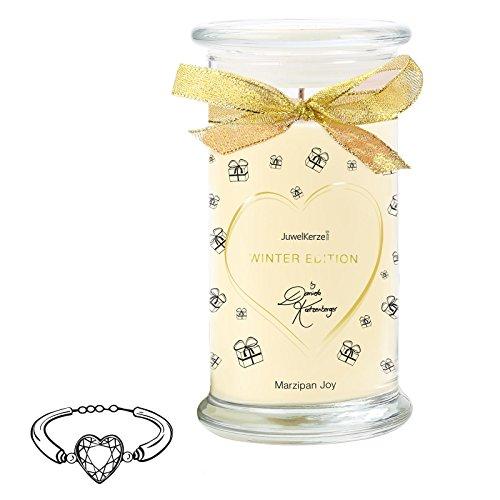 JuwelKerze Marzipan Joy by Daniela Katzenberger - Duftkerze mit Schmuck-Überraschung als Geschenk für Sie (Silber Armband, Winter Edition)