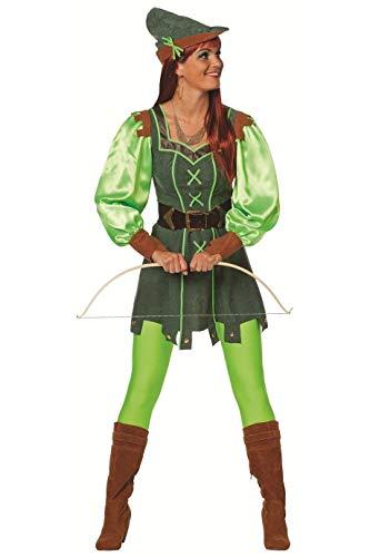 narrenkiste W4338-38-A grün Damen Robin Hood Kostüm Jäger Kleid Gr.38 (Kostüm Girl Jäger)