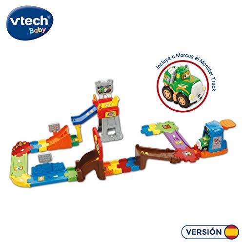 VTech- TutTut Bólidos Circuito de Acrobacias Playset Interactivo con luz y Voz Que Activa Frases y melodías con Sus vehículos, Incluye a Marcus el Monster Truck (3480-503722)
