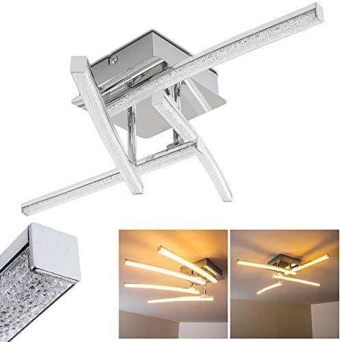 LED Deckenleuchte Georgina, moderne Deckenlampe in Chrom mit Glanzeffekt, 4-flammig mit drei verstellbaren Lichtleisten, 4 x 3 Watt, je 300 Lumen (1200 Lumen insgesamt), 3000 Kelvin (warmweiß)