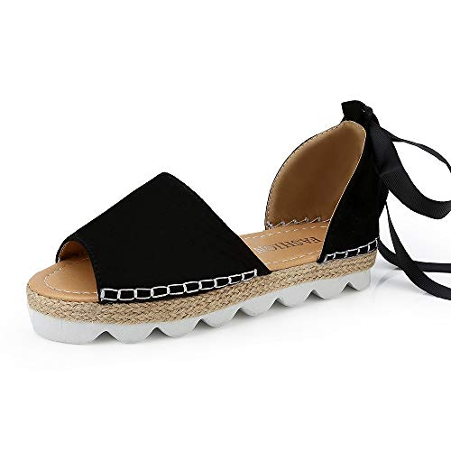 Sandali donna estivi eleganti bassi plateau aperti espadrillas zeppa flat mare romano boemia gladiatore con tacco scarpe ciabatte nero beige 35-44 bk37