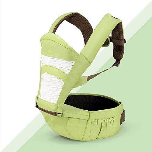 SJJL Multifonctions Quatre Saisons Universal Baby Carrier/Respirant Pratique Confortable Porte-Bébé/Avant Tenir Simple Siège Taille Tabouret Porte-Bébé (Couleur : Green, Taille : A)