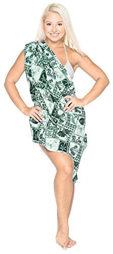 La Leela 100% involucro di cotone palmo Aloha ragazza tartaruga sarong 78x39 pollici Verde