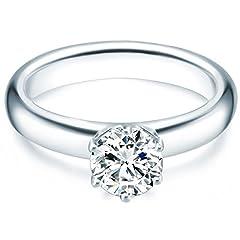 Idea Regalo - Tresor 1934 Annelli da Donna / Anello di fidanzamento / Solitario in Argento Sterling 925 con rodio Zircone bianco Taglia 8 60451017
