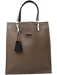 Nikky Women'S Laser Cut Tote Shoulder Bag, Taupe, One Size