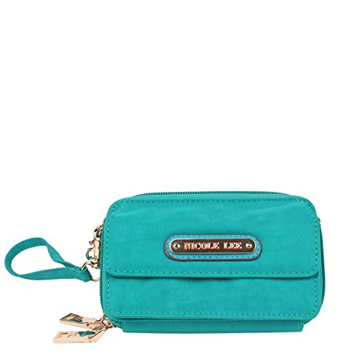 nicole-lee-lola-crinkled-nylon-cross-body-wallet-green