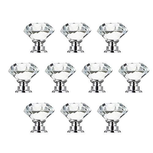 Heaviesk 10 Stücke 30mm Diamant Überzogene Form Kristallglas Knob Schrank Schublade Ziehgriff Neue Küche Türknopf Zubehör