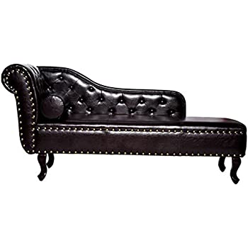 Homcom Deluxe Vintage Style Faux Leather Chaise Longue Dark Brown