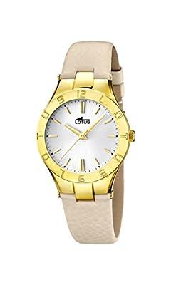Lotus Reloj de cuarzo para mujer con correa de piel plata esfera analógica pantalla y beige 15900/1