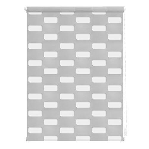 Lichtblick Duo Rollo Arena, 45 x 150 cm in Grau, Doppelrollo für Fenster & Türen, ohne Bohren, Jalousie & moderner Sicht- und Sonnenschutz