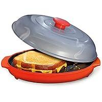 Grill Pan De Microondas para Frutas Y Verduras con Tapa De Cocina Que Cocina La Parrilla del Horno
