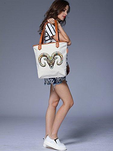 S.CHU Women's Goat Head Canvas Leather Tote Handbag Ladies Shoulder Bag Beige