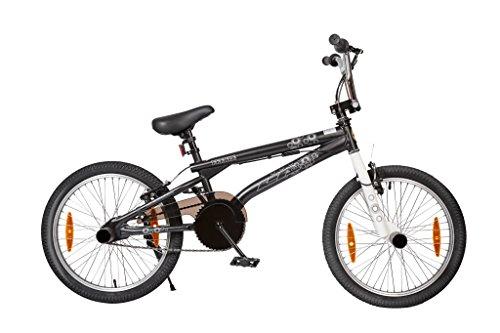 FEEBLE BMX BIKE 20 (51CM) FREESTYLE ROTORBREMSE SCHWARZ 2 PAAR PEGS