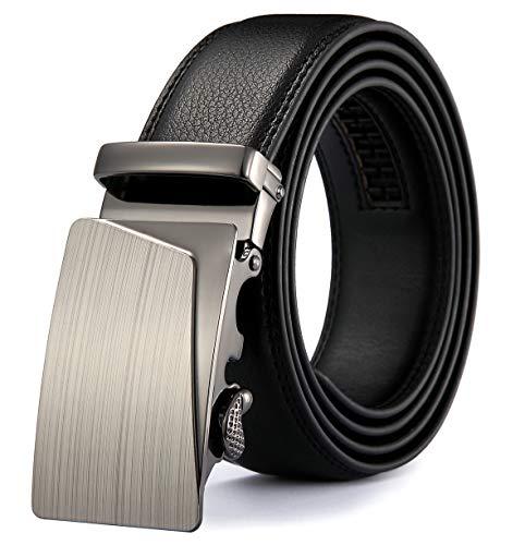 MRACSIY Hombres Cinturón Hebilla Automática Cinturón de Cuero Genuino Negro 120CM (negro-04)