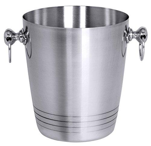 Sektkühler aus Aluminium, außen glänzend poliert, mit zwei Fallgriffen/Ø oben: 19 cm, Höhe: 22 cm   ERK Erk 19