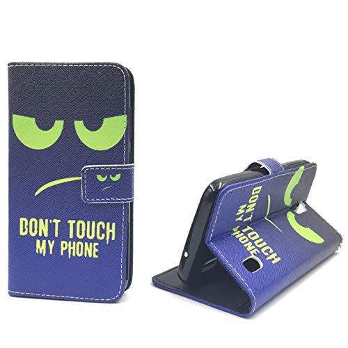 König-Shop Handy-Hülle für Huawei Y625 Klapp-Hülle aus Kunst-Leder   Sturzsichere Flip-Case in Grün/Blau   Im Don't Touch My Phone Smiley Motiv