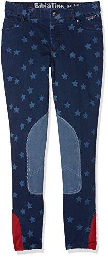 HKM Erwachsene Jeans-Reithose -Bibi&Tina Stars-, Alos Kniebesatz6100 jeansblau164 Hose, 6100 Jeansblau, 164
