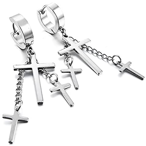 MunkiMix Stainless Steel Stud Hoop huggie Earrings Silver Tone Cross Women,Men