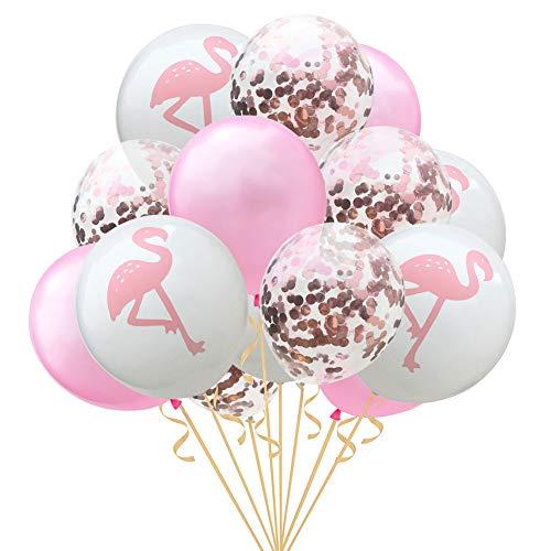 Flamingo Látex Globos,Color sólido Confeti de Oro Globos de Fiesta Hawaii Papel Mylar Redonda Globo Decoración del Partido de Accesorios-B