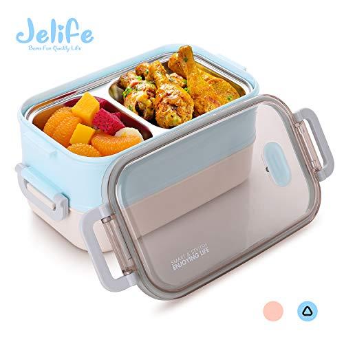 Jelife Bento Box Lunchbox mit Edelstahlsbehälter Brotdose mit 3 Unterteilungen für Schule Arbeit Picknick Reisen Unterwegs Spülmaschinegeeignet