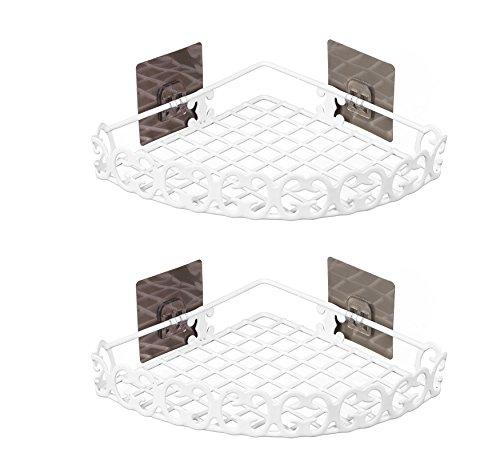 Set di 2 Mensole ad Angolo da Bagno Senza Foratura Decorativo Semidiameter 19cm
