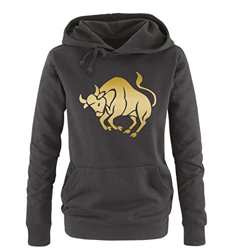 comedy-shirts-zodiac-sign-taurus-donna-hoodie-cappuccio-sweater-nero-oro-taglia-m