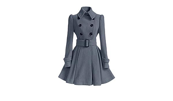 Manteau de jupe à double boutonnage avec boucle de ceinture Rabat de manteau  à manches longues à col boutonné Minzhi  Amazon.fr  Sports et Loisirs 46dbf0e0d76