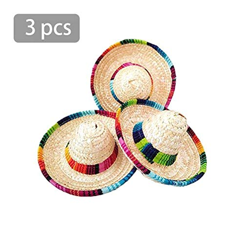 Rainai 3 verrückte Nächte natürliche Stroh Mini Hüte/Mini mexikanischen Hut Desktop Party Supplies Karneval Geburtstagsfeier Dekorationen Cinco de Mayo Party