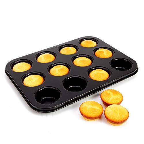 Moldzhu Backenwerkzeuge Kuchenform Mini 12 Tasse Muffin Backform Eierkuchen Brot Backformen 25,5 * 19,6 * 2,1 cm