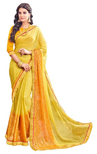 A and V Fashion Women's Brasso Printed Saree With Blouse Piece